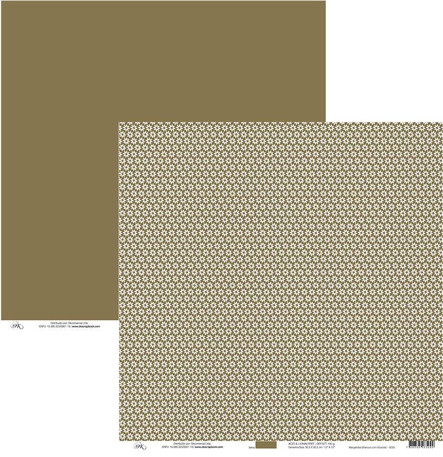 Papel Margaridas Brancas c/ Dourado Okscrapbook - 8203