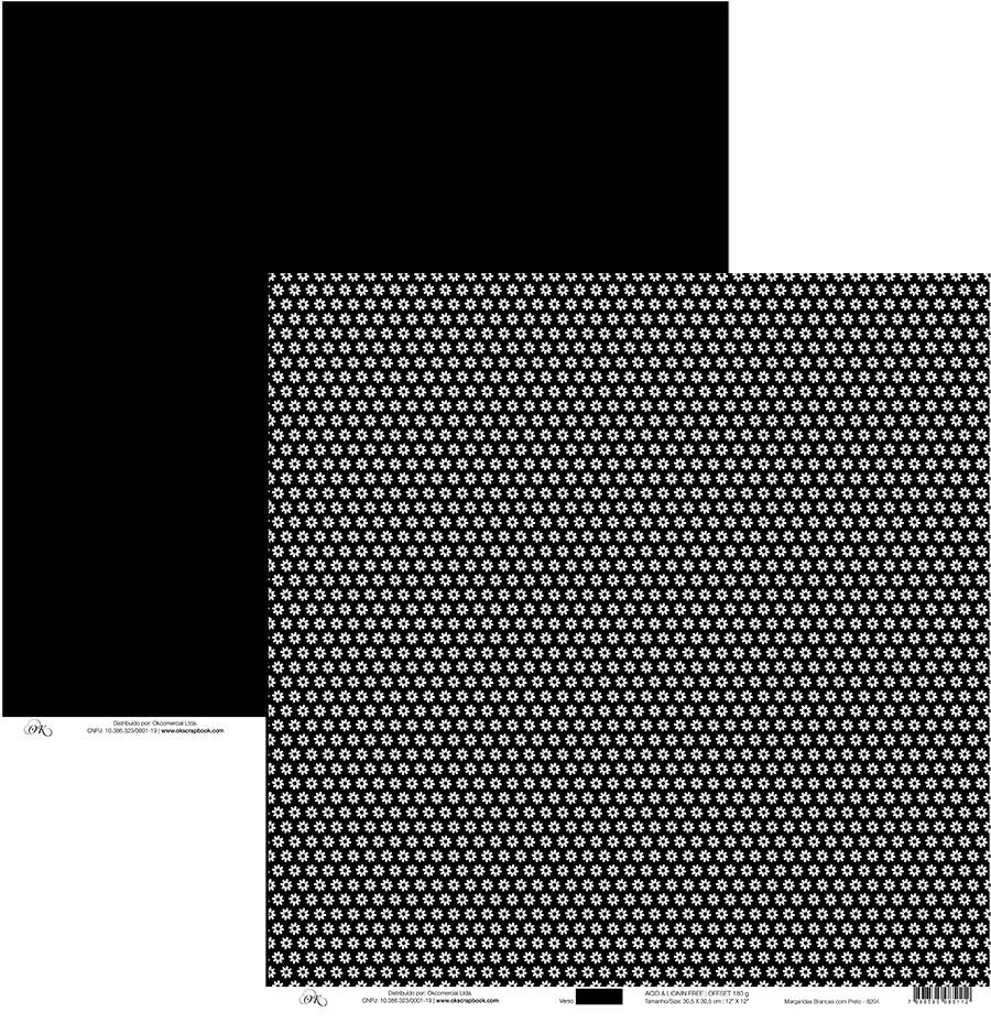 Papel Margaridas Brancas com Preto Okscrapbook - 8204