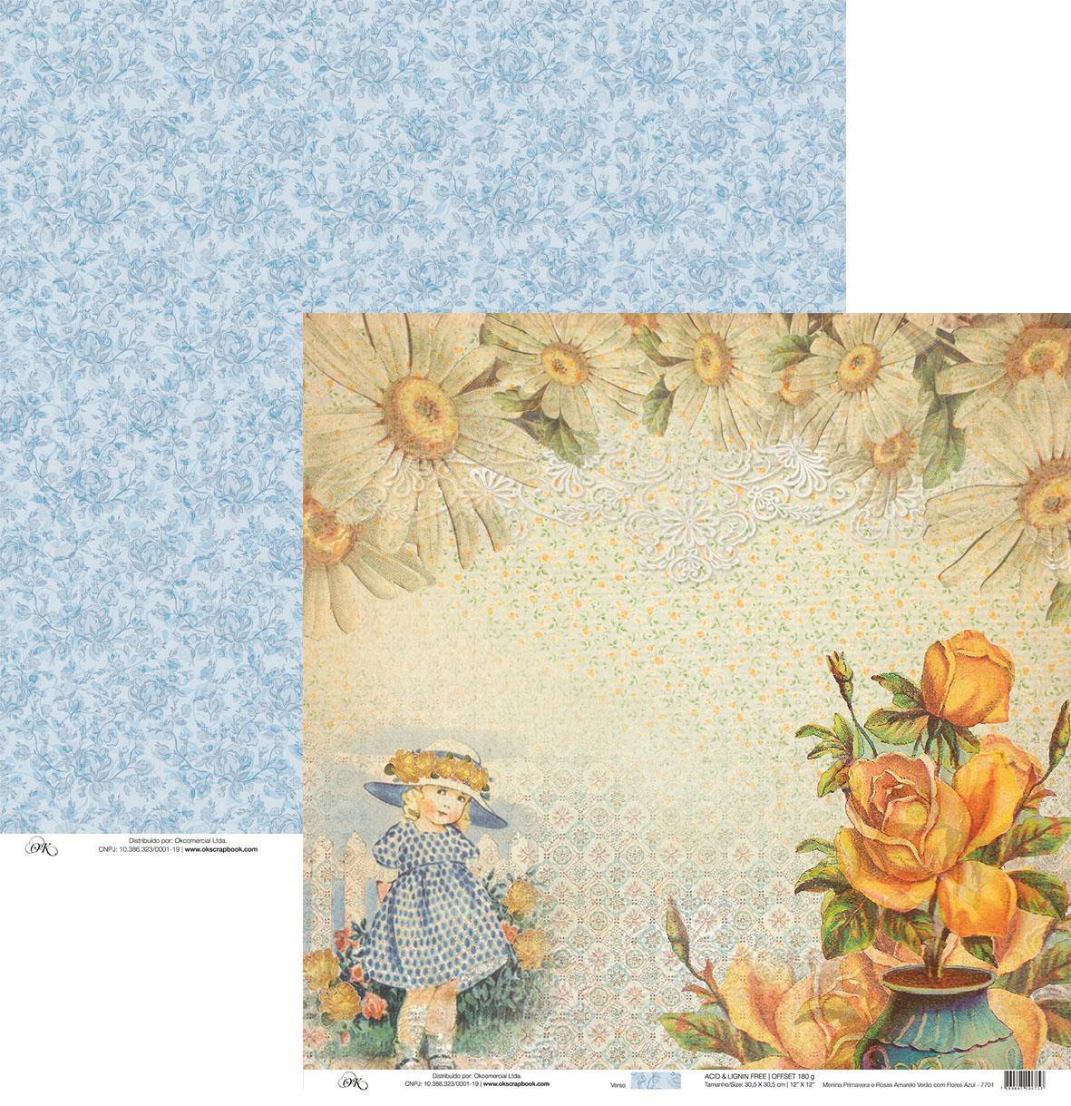 Papel Menina Primavera e Rosas Amarelo Okscrapbook - 7701