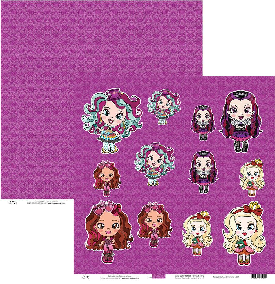Papel Meninas Contos e Ornamento Okscrapbook - 7201