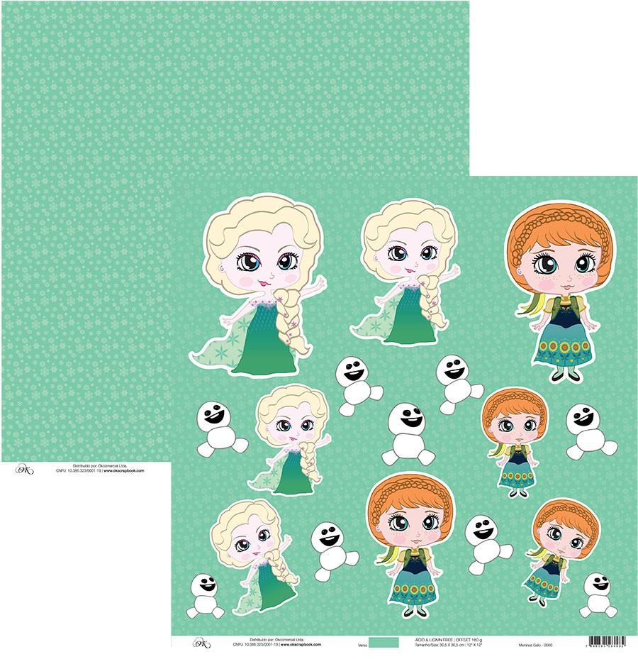 Papel Meninas do Gelo (Frozen) Okscrapbook - 7953