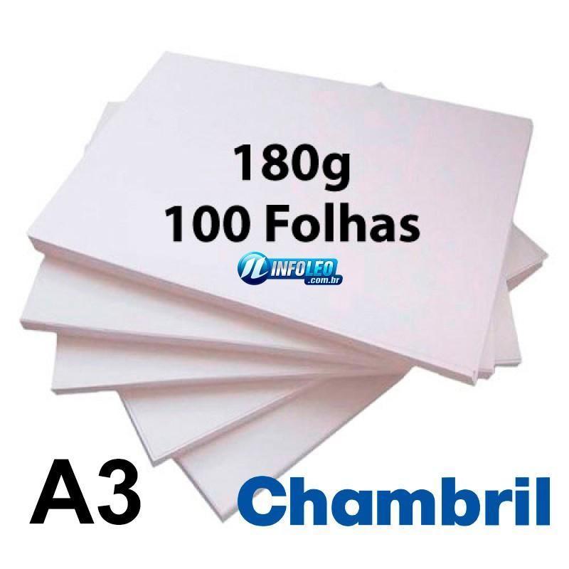 Papel Offset Chambril 180G A3 Branco - 100 Folhas