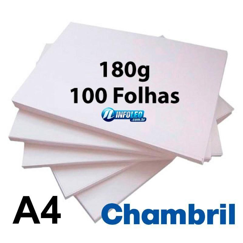 Papel Offset Chambril 180G A4 Branco 100 Folhas