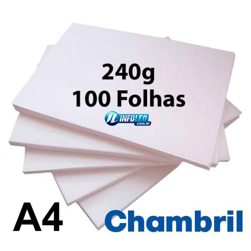 Papel Offset Chambril 240 gramas A4 Branco 100 Folhas