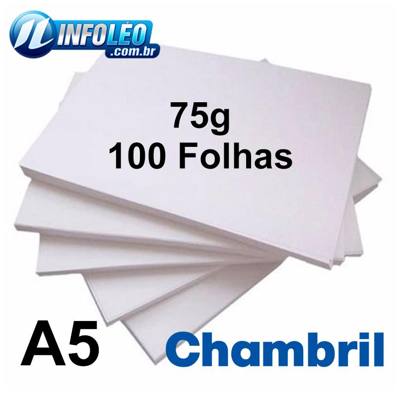 Papel Offset Chambril 75G A5 Branco - 100 Folhas
