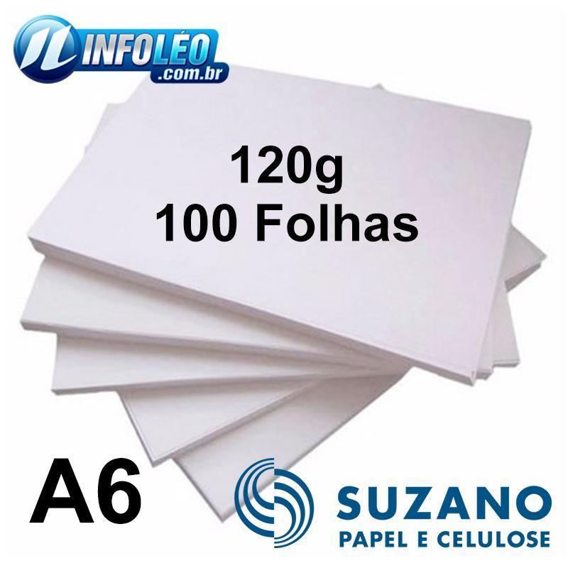 Papel Offset Suzano 120 gramas A6 Branco - 100 Folhas