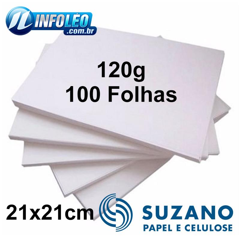 Papel Offset Suzano 120G 21x21cm Branco - 100 Folhas