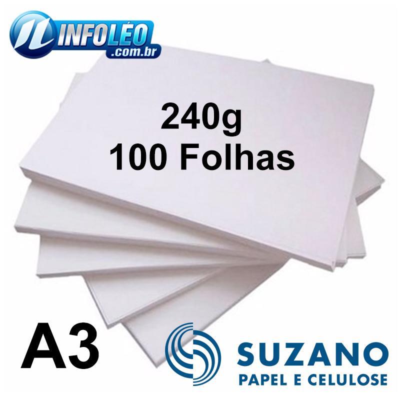 Papel Offset Suzano 240 gramas A3 Branco - 100 Folhas