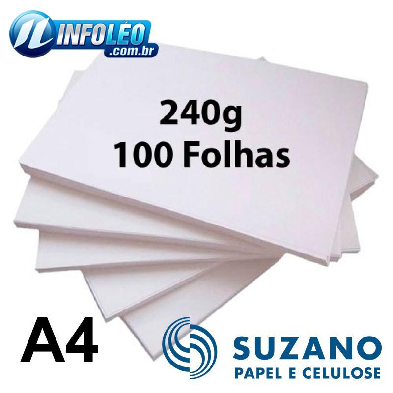 Papel Offset Suzano 240G A4 Branco 100 Folhas
