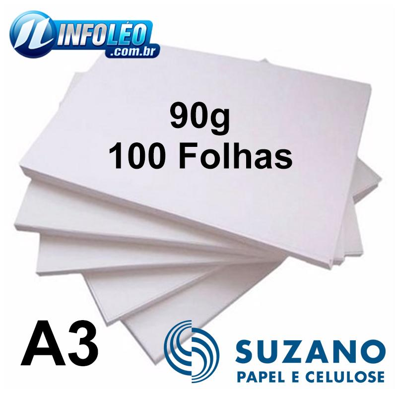 Papel Offset Suzano 90 gramas A3 Branco - 100 Folhas
