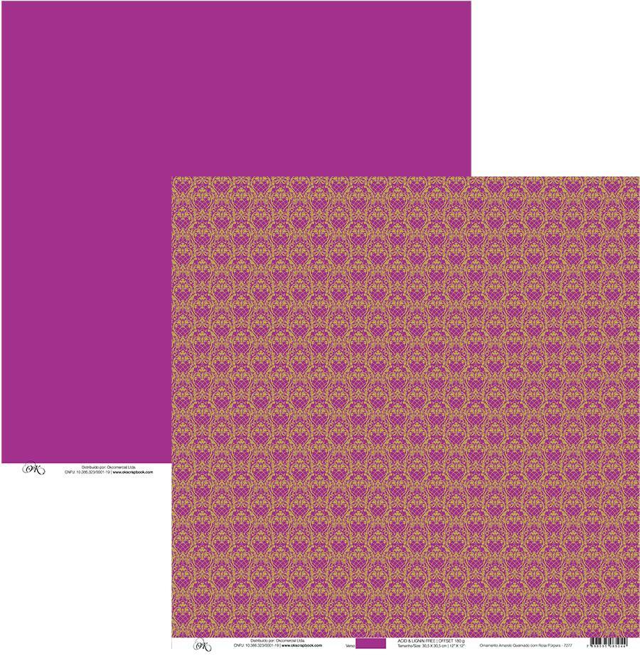Papel Ornamento Amarelo Queimado com Rosa Okscrapbook - 7277