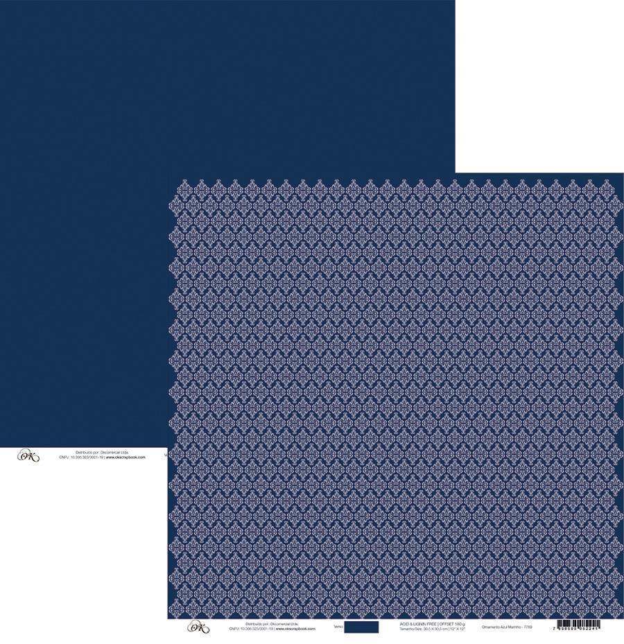 Papel Ornamento Azul Marinho Okscrapbook - 7789