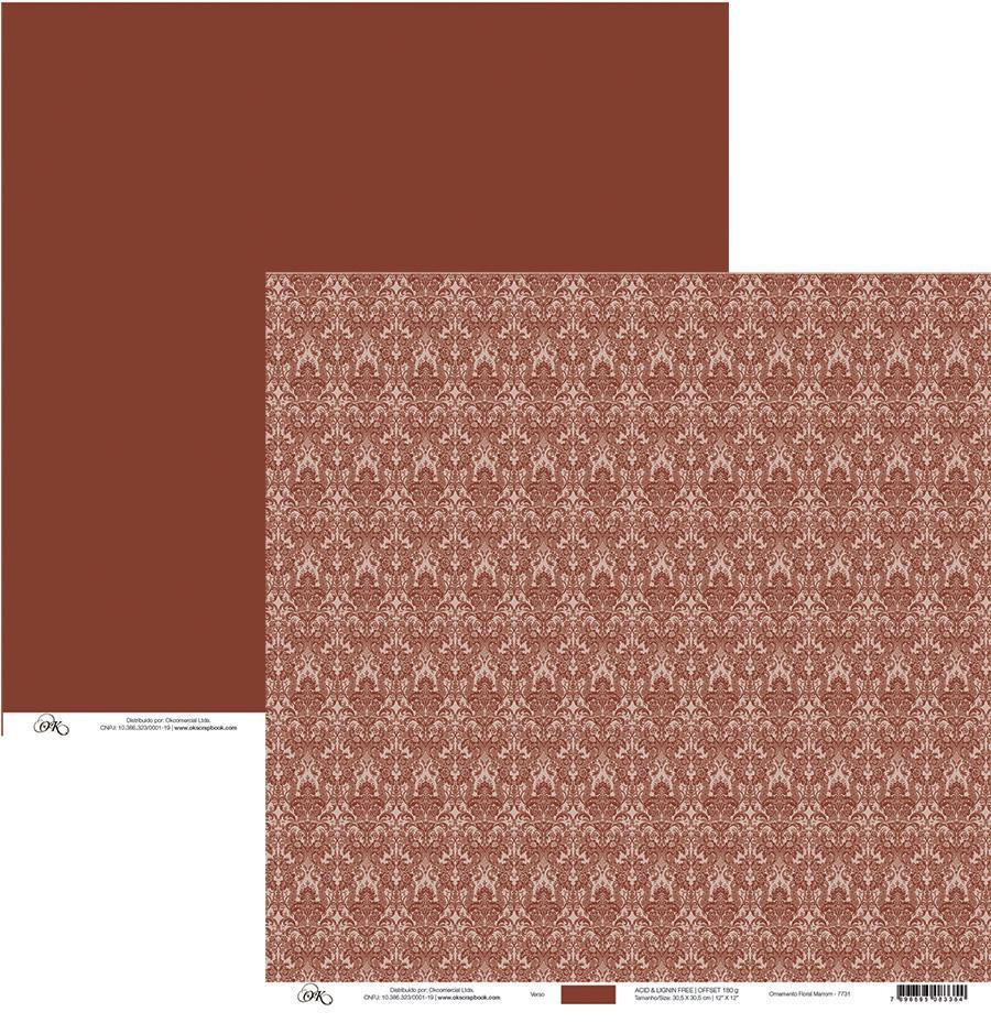 Papel Ornamento Floral Marrom Okscrapbook - 7731
