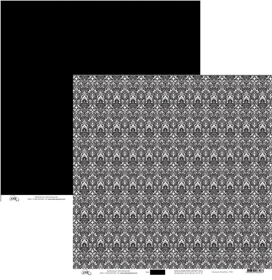 Papel Ornamento Floral Preto Okscrapbook - 7750