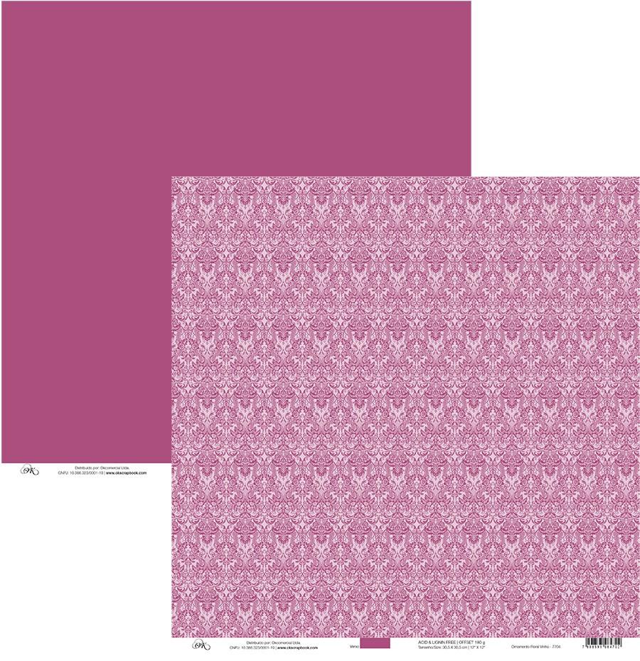 Papel Ornamento Floral Vinho Okscrapbook - 7704
