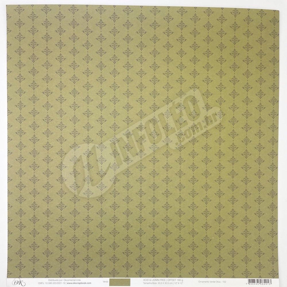 Papel Ornamento Verde Oliva Okscrapbook - 122