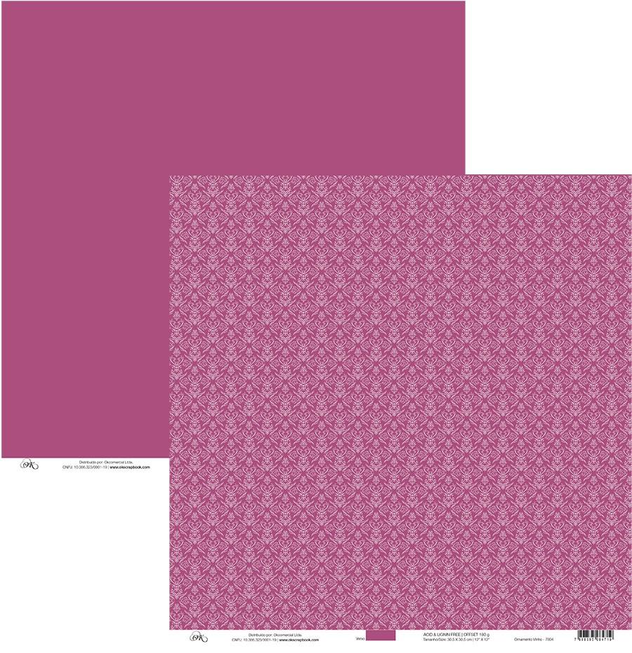 Papel Ornamento Vinho Okscrapbook - 7804