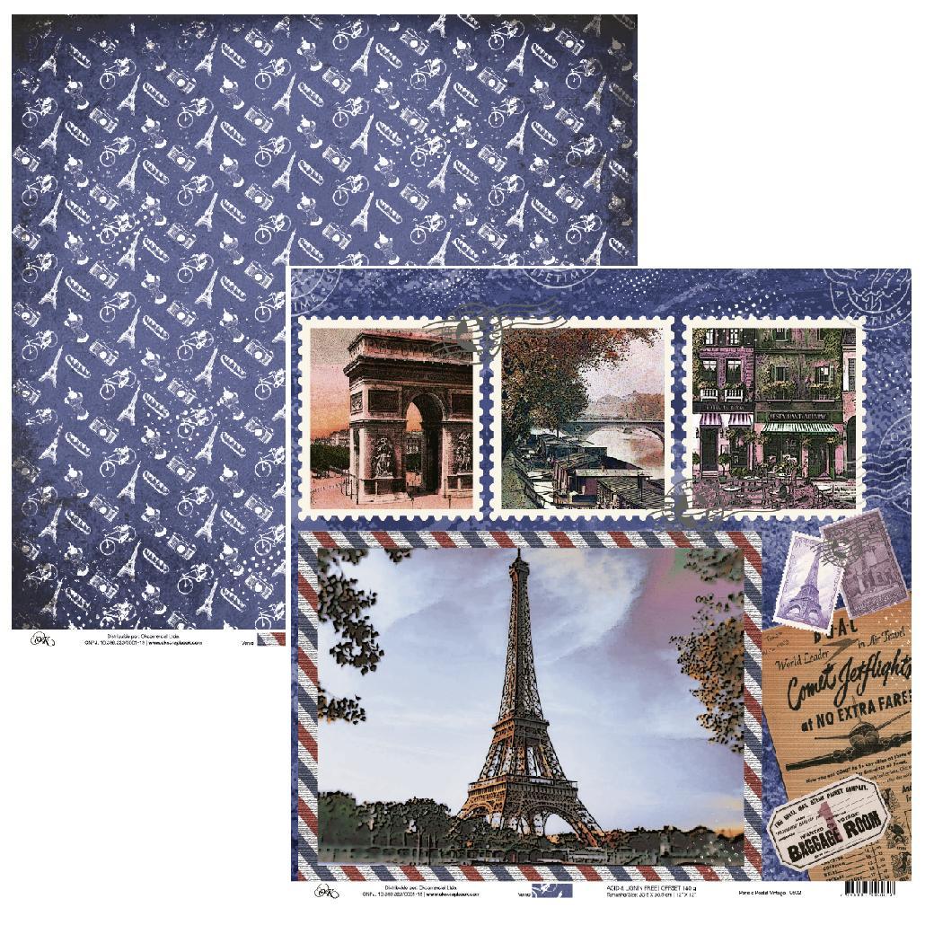 Papel Paris e Postal Vintage Okscrapbook - 9502