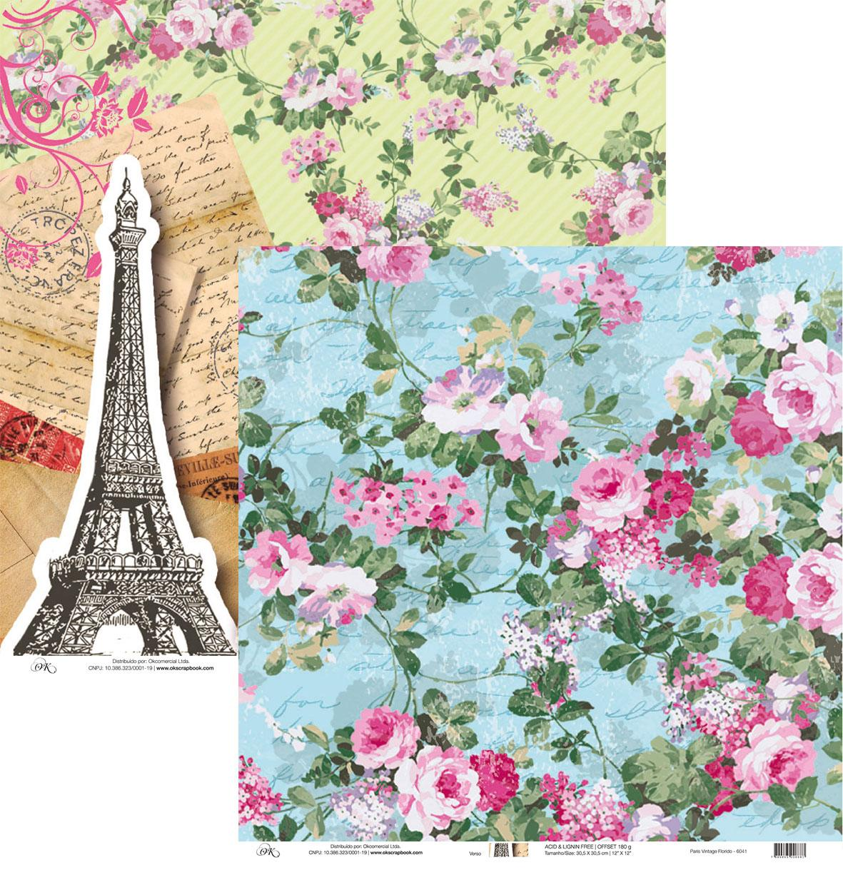 Papel Paris Vintage Florido Okscrapbook - 6041