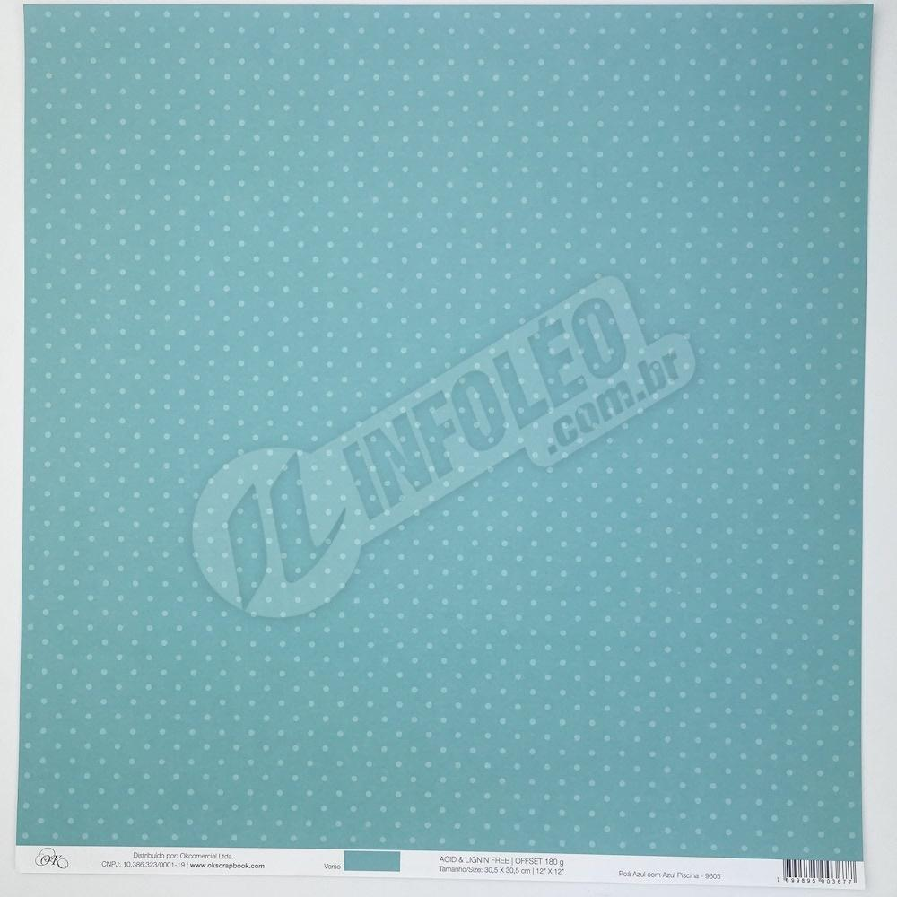 Papel Poá Azul com Azul Piscina Okscrapbook - 9605