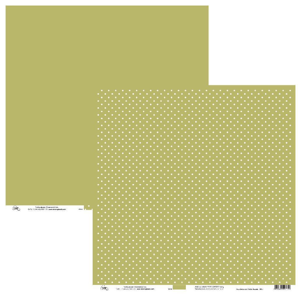Papel Poá Branco com Verde Abacate Okscrapbook - 9607