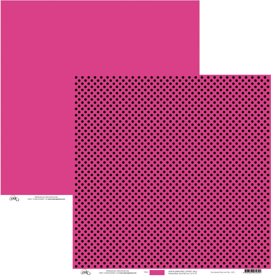 Papel Poá Grande Preto com Pink Okscrapbook - 3511