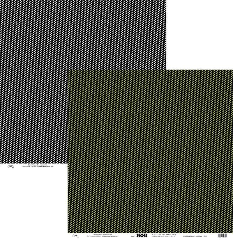 Papel Poá Juntinho Preto e Verde Laser Okscrapbook - 3005