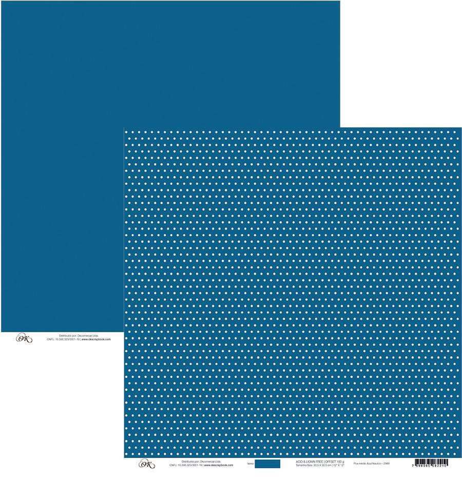 Papel Poá Médio Branco com Azul Náutico Okscrapbook - 2989
