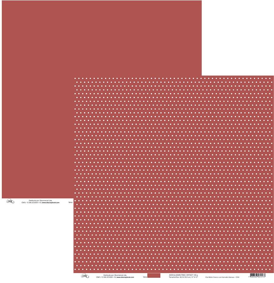 Papel Poá Médio Branco com Vermelho Marsala Okscrapbook - 2206