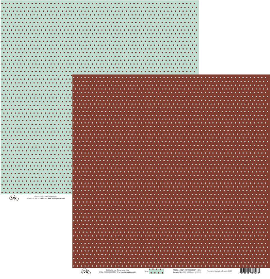 Papel Poa Médio Marrom C/ Verde Claro Okscrapbook - 23820