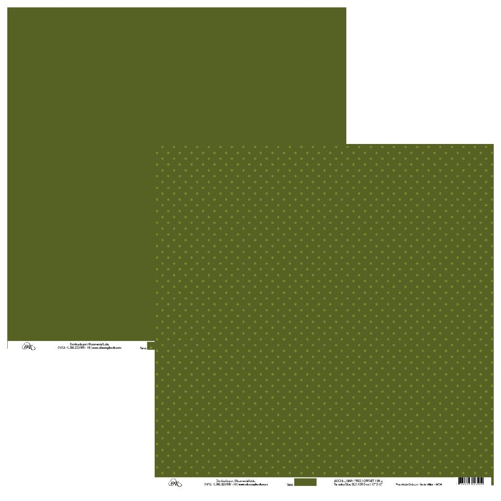 Papel Poá Verde Chá com Verde Militar Okscrapbook - 9706
