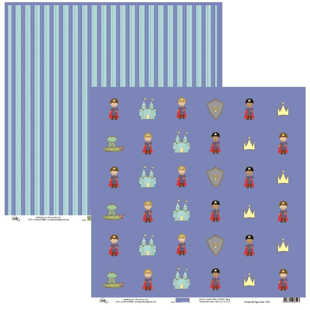 Papel Príncipes Mini Tags e Listra Okscrapbook - 9108