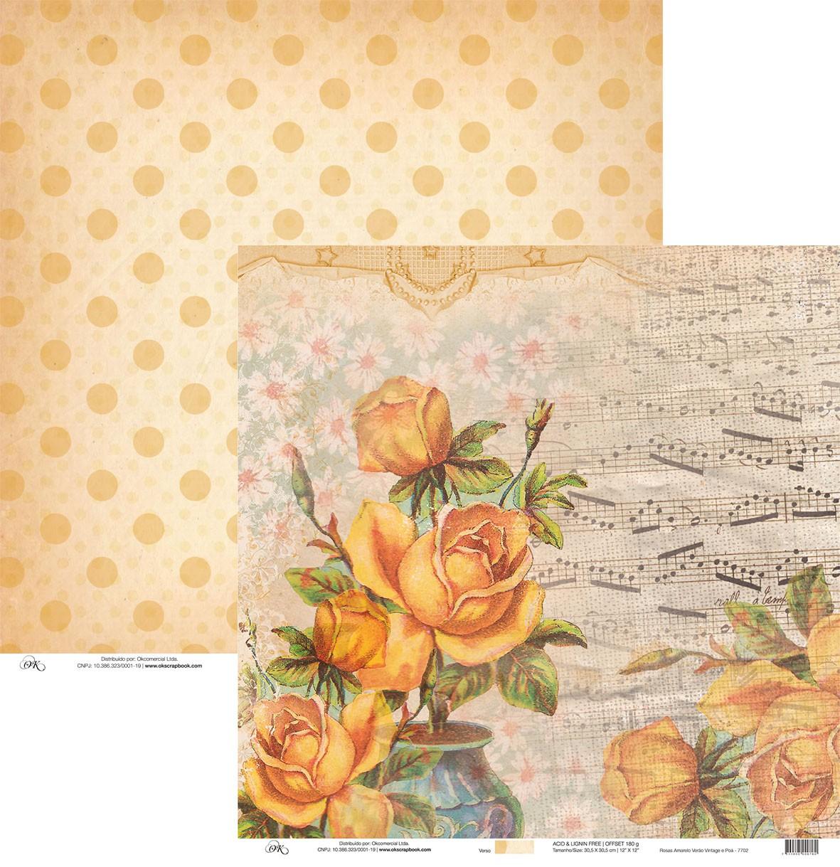 Papel Rosas Amarelo Verão Vintage e Poá Okscrapbook - 7702