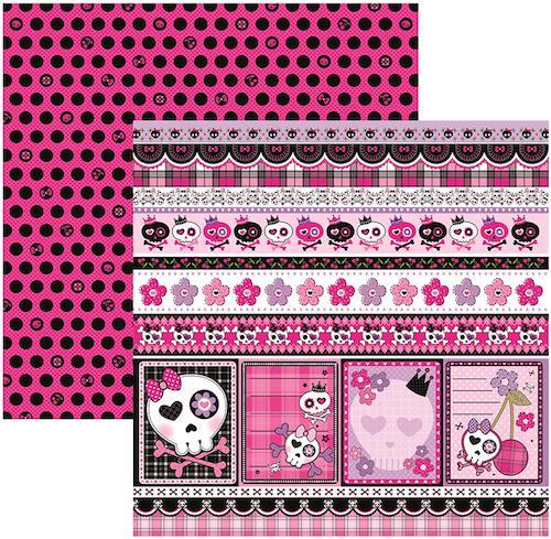 Papel Scrap Caveiras Pink Barrinhas Toke e Crie - 15454 - SDF451