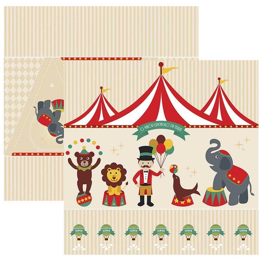 Papel Scrap Circo Vintage Cenário e Bandeirolas Toke e Crie - 17899 - SDF644