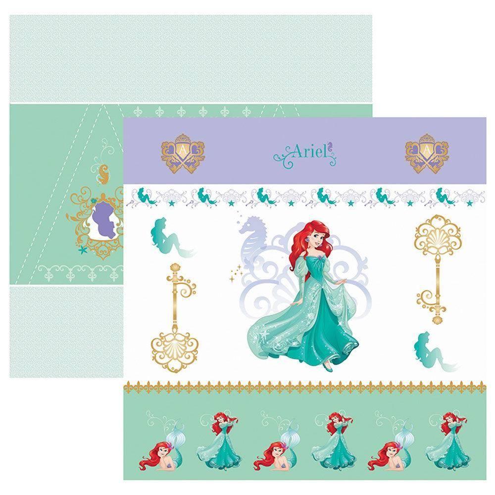 Papel Scrap Disney Ariel 1 Cenario e Bandeirolas Toke e Crie - 19567 - SDFD82