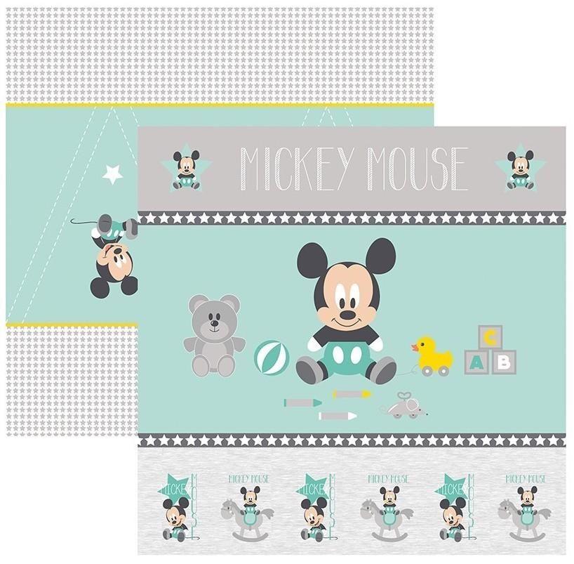 Papel Scrap Disney Baby Mickey 1 Cenario e Bandeirolas Toke e Crie - 19326 - SDFD032