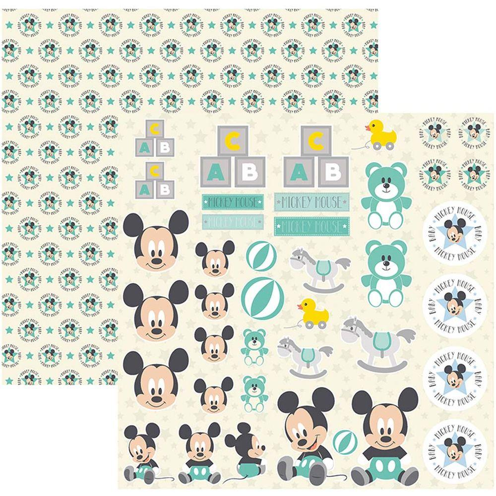 Papel Scrap Disney Baby Mickey 2 Recortes Toke e Crie - 19355 - SDFD039