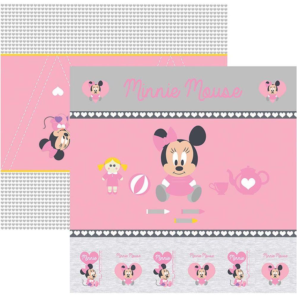 Papel Scrap Disney Baby Minnie 1 Cenario e Bandeirolas Toke e Crie - 19316 - SDFD022