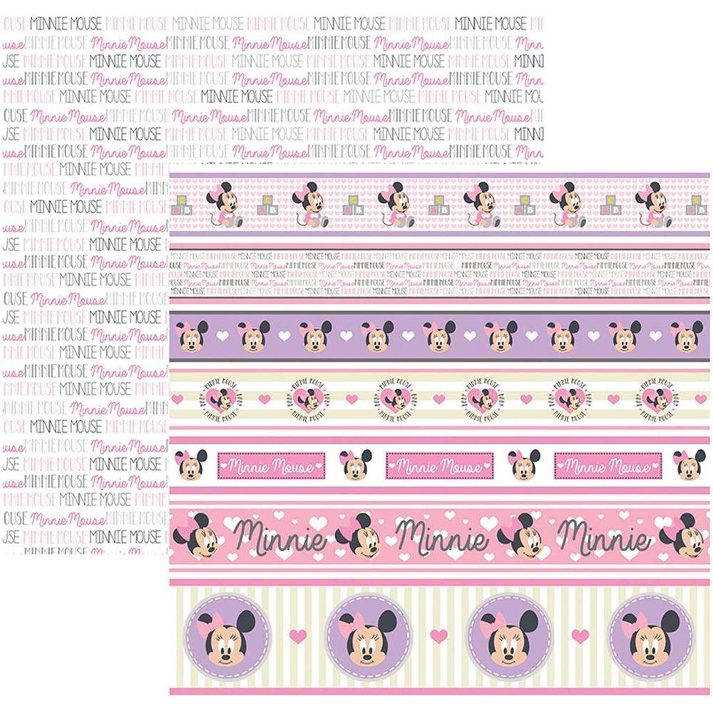 Papel Scrap Disney Baby Minnie 2 Faixas Toke e Crie - 19324 - SDFD030