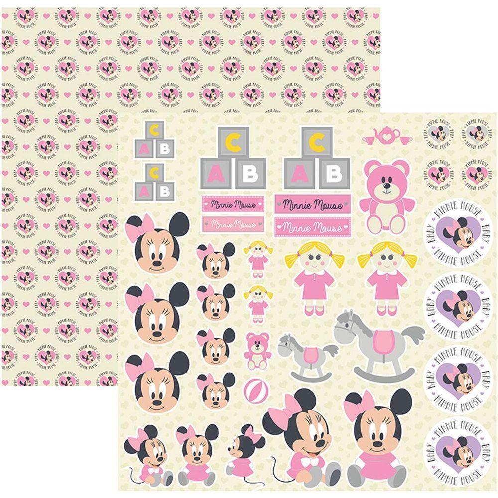 Papel Scrap Disney Baby Minnie 2 Recortes Toke e Crie - 19323 - SDFD029