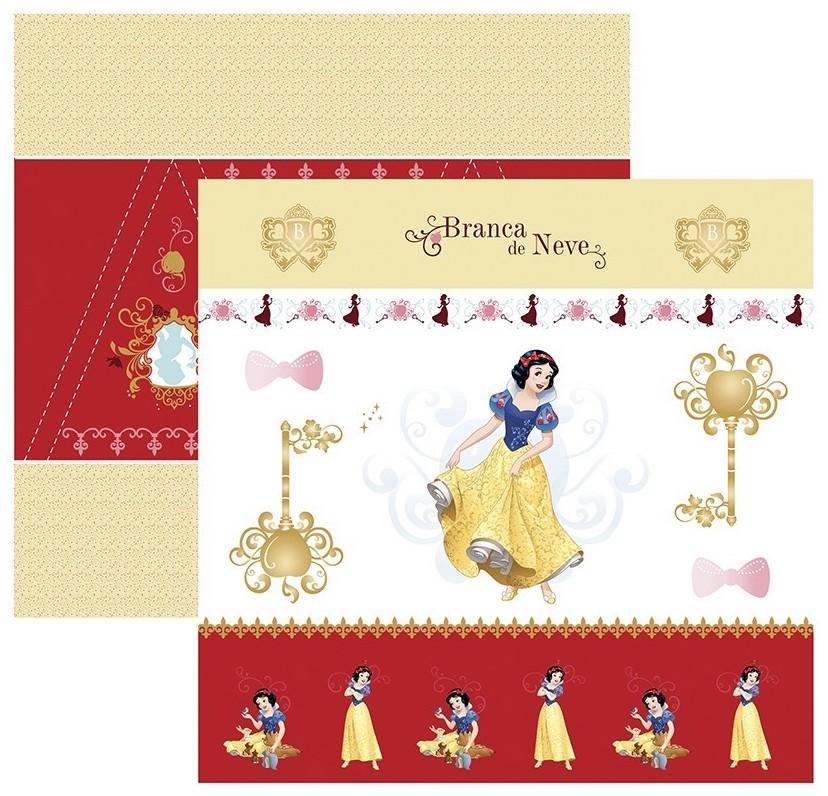 Papel Scrap Disney Branca de Neve 1 Cenario e Bandeirolas Toke e Crie - 19561 - SDFD76