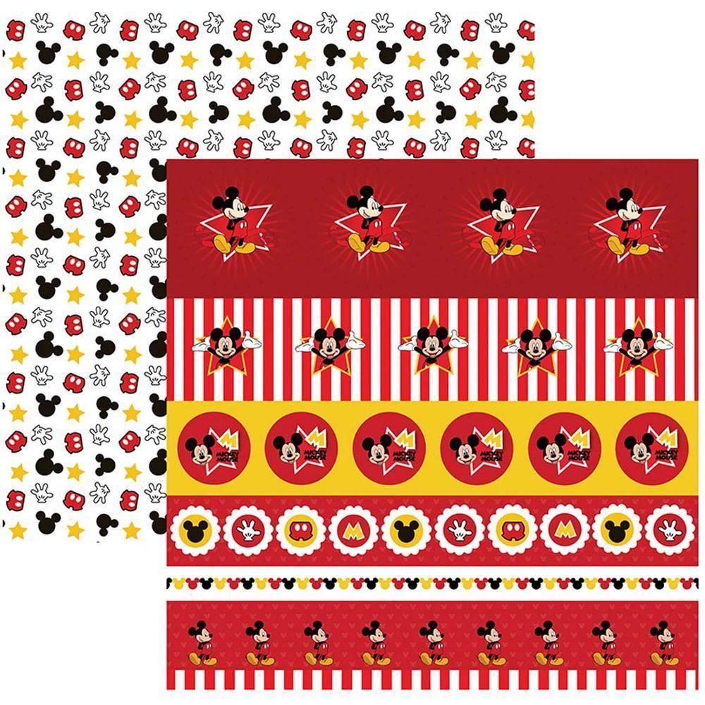 Papel Scrap Disney Mickey Mouse 2 Faixas Toke e Crie - 19314 - SDFD020