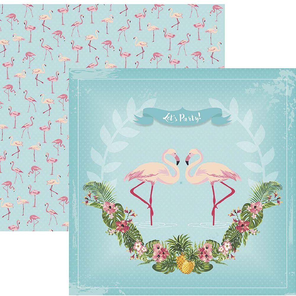 Papel Scrap Flamingos Guirlanda by Mariceli Toke e Crie - 20228 - SDF747