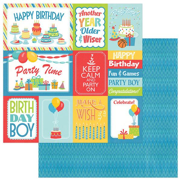 Papel Scrap Importado Party Boy Party Boy 3x4 - PB2164