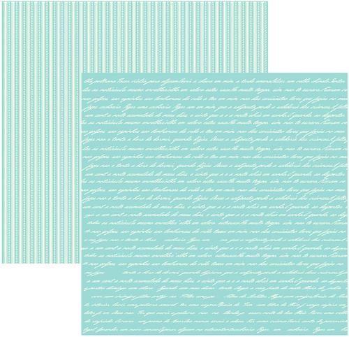 Papel Scrap Manuscrito Verde Água Toke e Crie - 15865 - KFSB327