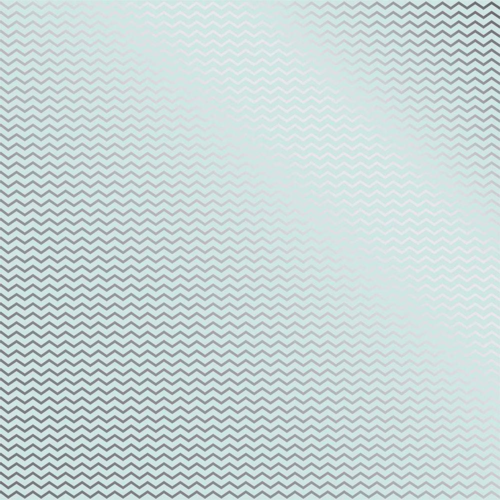 Papel Scrap Metalizado Chevron Prateado Azul Toke e Crie - 19922 - SDF740