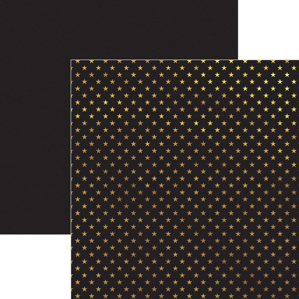 Papel Scrap Metalizado Estrelas Dourado Preto Toke e Crie - 17740 - SDF619