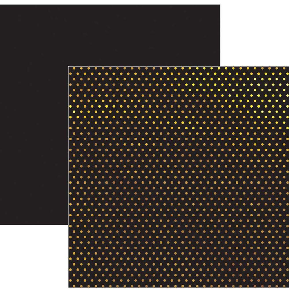 Papel Scrap Metalizado Poá Dourado Preto Toke e Crie - 17739 - SDF618