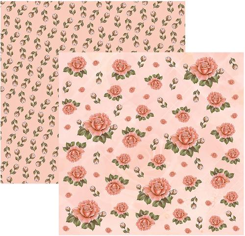 Papel Scrap Rosas Botões FD Salmão Toke e Crie - 11915 - SDF221